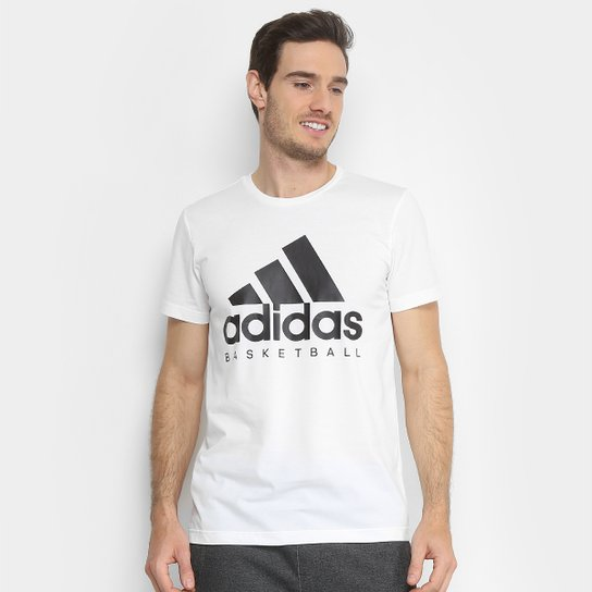 64e1de18886 Camiseta Adidas Basketball Graphic Masculina - Branco e Preto ...