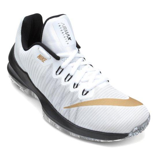 8a0807defbfe9 Tênis Nike Air Max Infuriate 2 Low Masculino - Branco e dourado ...