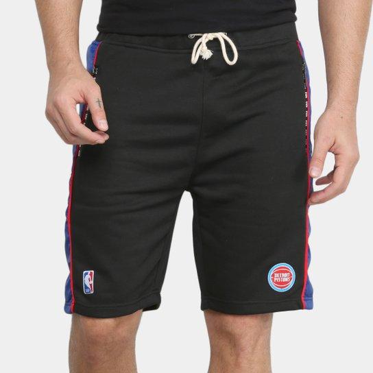 Bermuda NBA Detroit Pistons Moletom Masculina - Preto