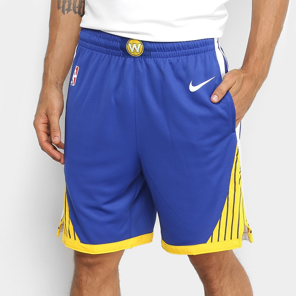 8a5c2d561b4c3 Bermuda NBA Golden State Warriors Nike Icon Swingman Road Masculina - Azul  e Branco | Loja NBA