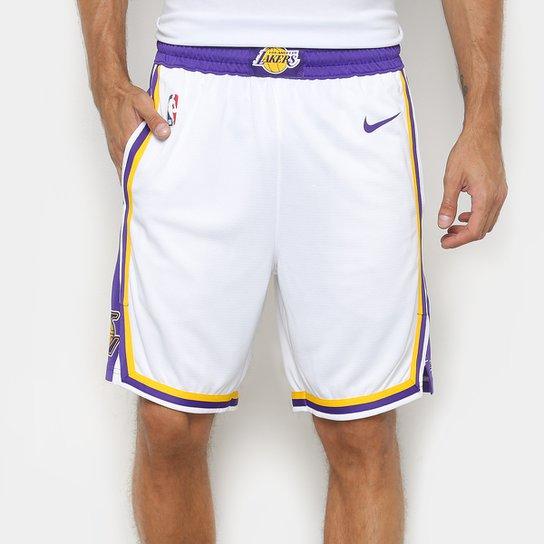 una gran variedad de modelos envío gratis busca lo último Bermuda Nike NBA Los Angeles Lakers Swingman Home Masculina | Loja NBA