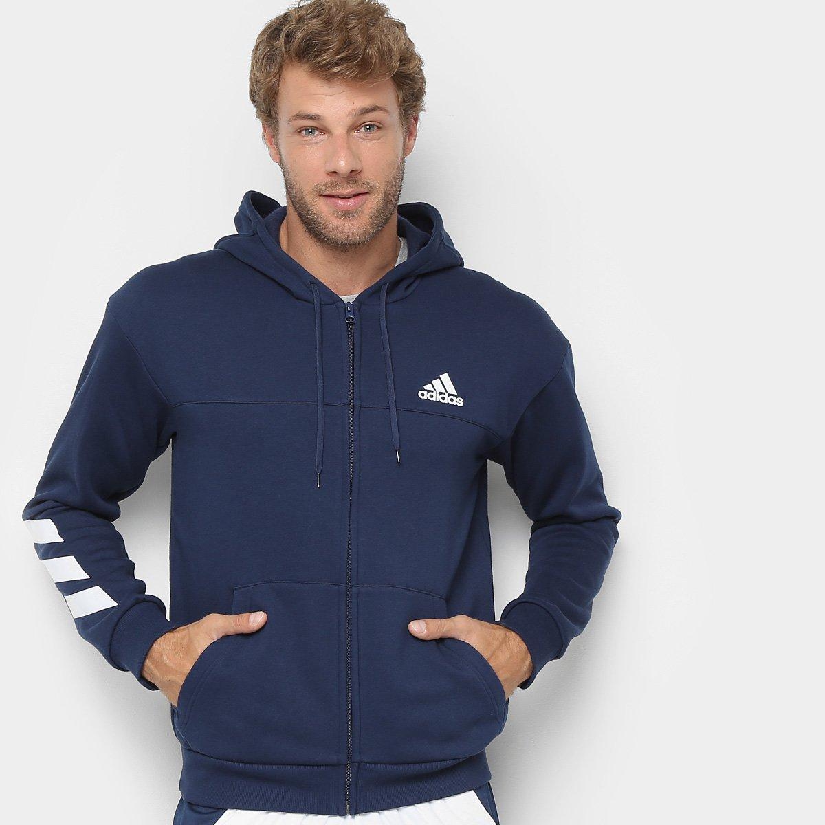 d9e666d2154 Blusa Adidas Sport Slim Masculina - Marinho e Branco - Compre Agora ...