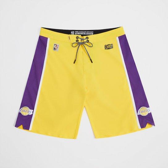 Boardshort NBA Los Angeles Lakers Mitchell & Ness Subli Masculino - Amarelo