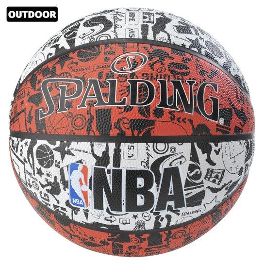 Bola Basquete NBA Spalding Graffiti Tam. 7 - Branco+Preto