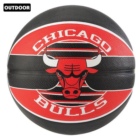 Bola de Basquete Spalding NBA Chicago Bulls Team Rubber Basketball Tam 7 - Preto+Vermelho