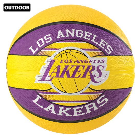 Bola de Basquete Spalding NBA Los Angeles Lakers Team Rubber Basketball Tam 7 - Amarelo+Roxo