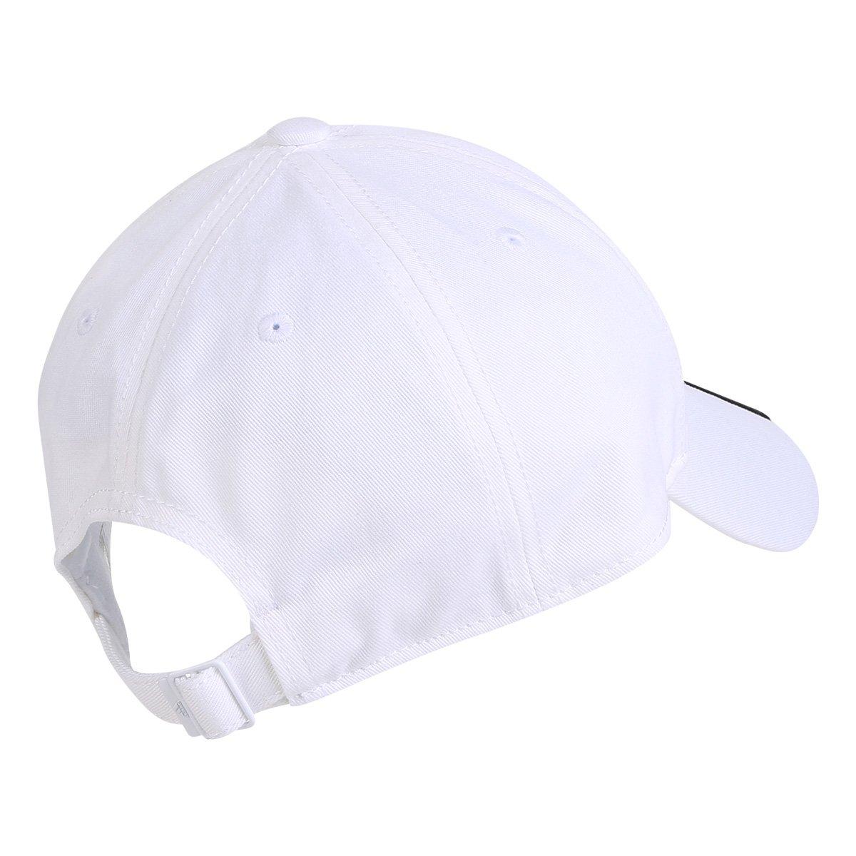 a081d2efc0313 Boné Adidas Ess 3 Stripes Cotton Aba Curva - Branco e Preto | Loja NBA