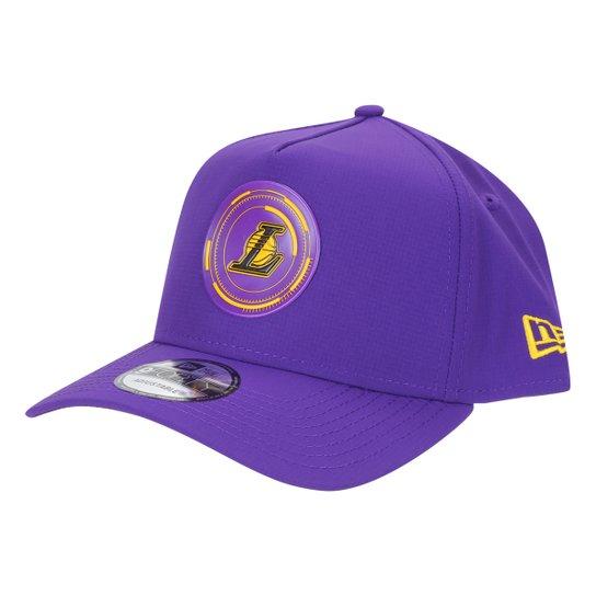 Boné New Era NBA Los Angeles Lakers Aba Curva Snapback A- Frame Urban Tech Power 9Forty - Roxo