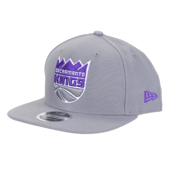 Boné New Era NBA Sacramento Kings Aba Reta Snapback Team Fit Aba Reta 9Fifty - Cinza
