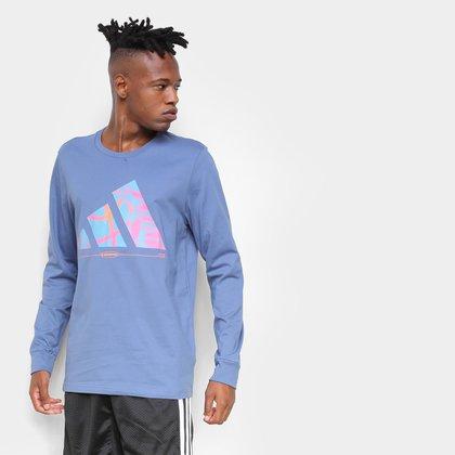 Camiseta Adidas Hoops Manga Longa Masculina