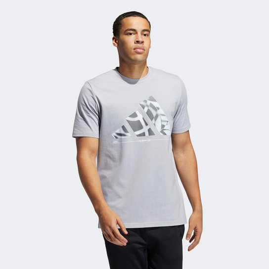 Camiseta Adidas Hoops Masculina - Prata