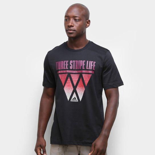 Camiseta Adidas Three Stripe Life Hoops Masculina - Preto