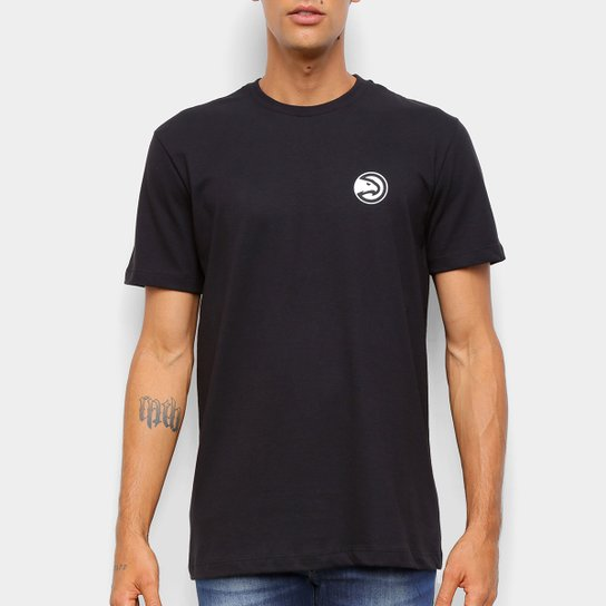 Camiseta Black Pack NBA Atlanta Hawks New Era Logo Atlhaw Masculina - Preto