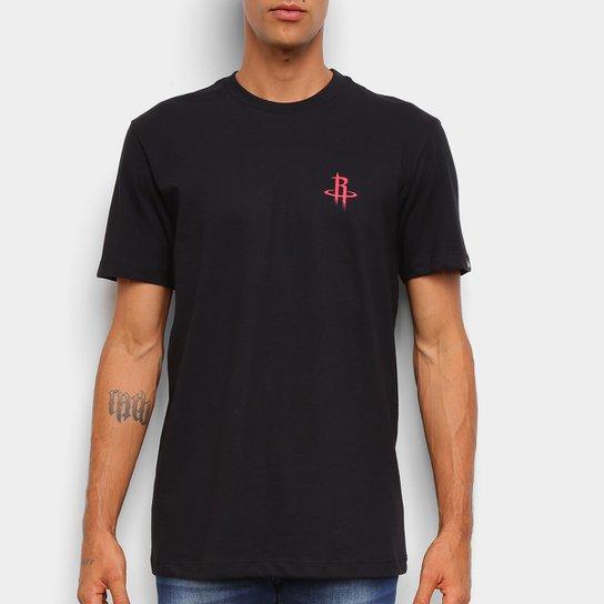Camiseta Black Pack NBA Houston Rockets New Era Logo Shield Masculina - Preto+Vermelho