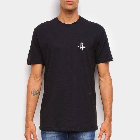 Camiseta Black Pack NBA Houston Rockets New Era Logo Shield Masculina - Preto+Branco