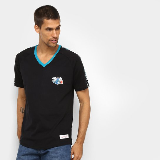 Camiseta Charlotte Hornets Mitchell & Ness Faixa Colmeia Masculina - Preto