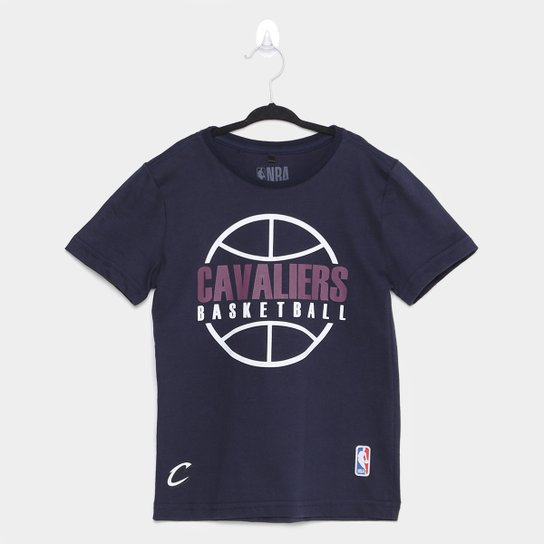 Camiseta Cleveland Cavaliers Infantil NBA Outline Masculina - Marinho