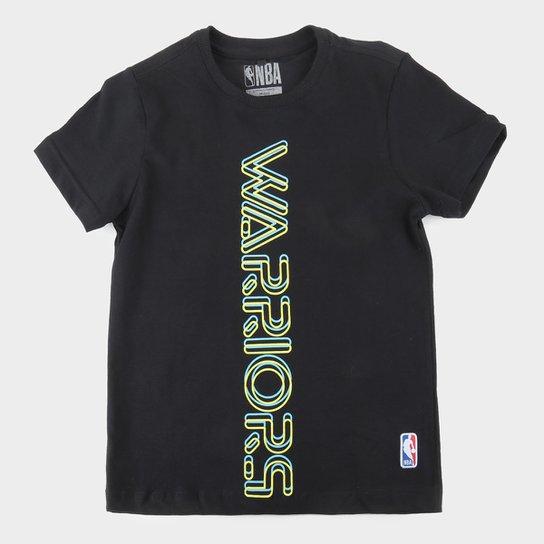 Camiseta Golden State Warriors Juvenil NBA Masculina - Preto