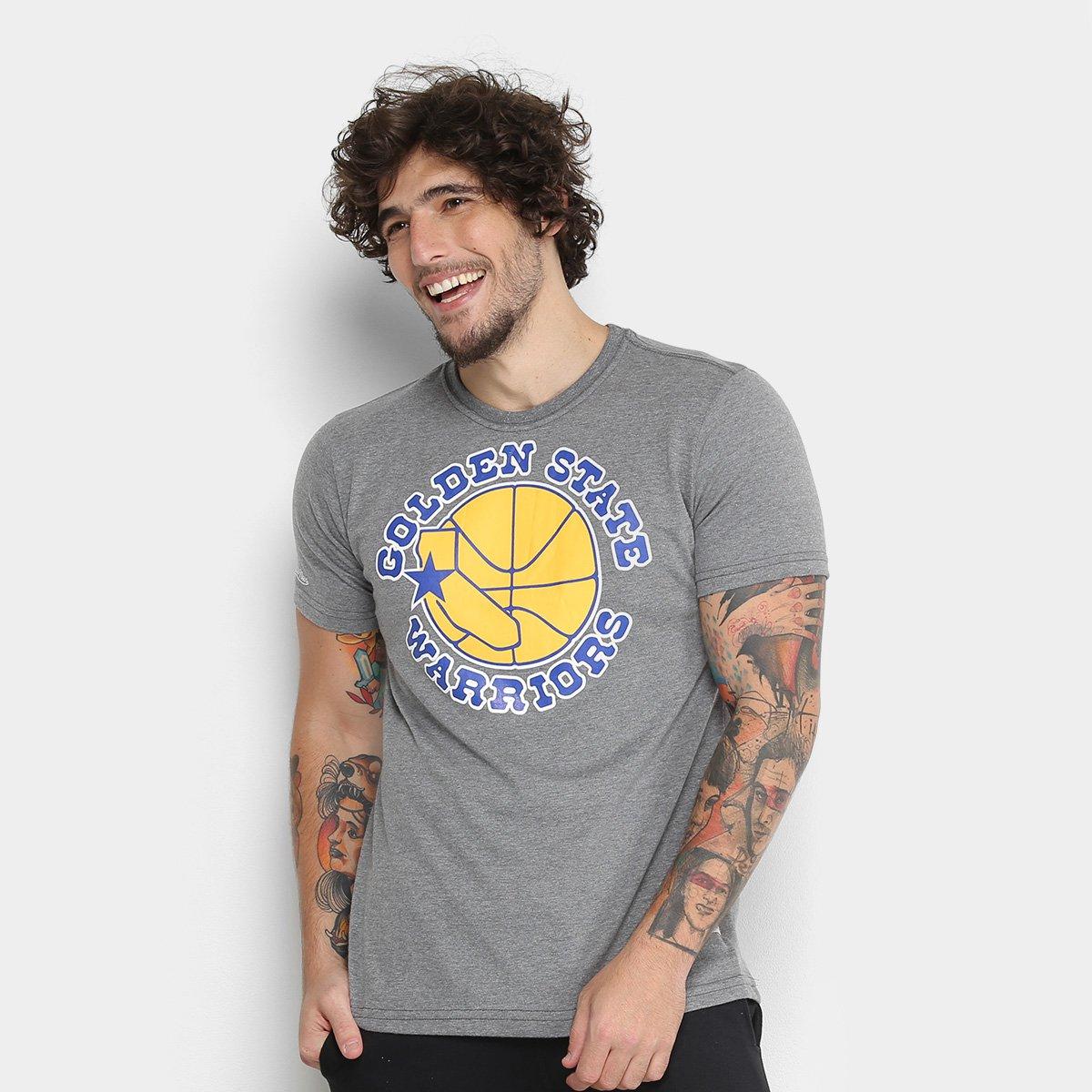 Camiseta Golden State Warriors Mitchell   Ness Big Logo Masculina ... 2b6c5cc9ac4e2