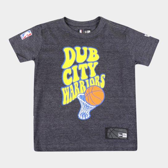 Camiseta Infantil New Era NBA Golden State Warriors Dub City Masculina - Mescla Escuro