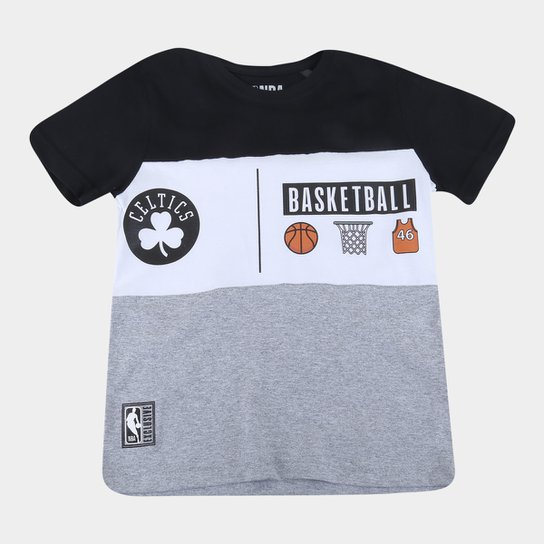 Camiseta Juvenil Boston Celtics NBA Especial Masculina - Preto