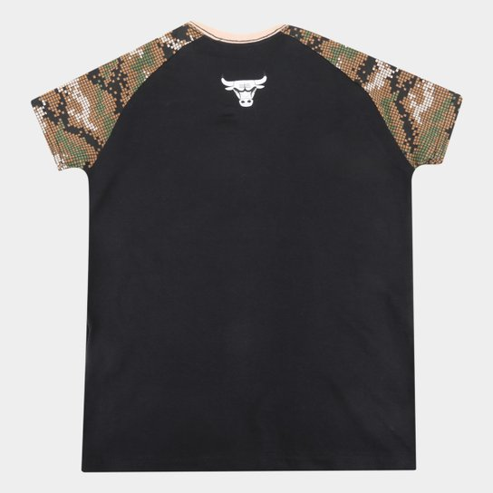 Camiseta Juvenil Chicago Bulls NBA Camo Masculina - Preto