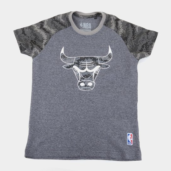 Camiseta Juvenil Chicago Bulls NBA Camo Masculina - Grafite+Cinza