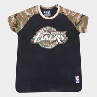 Camiseta Juvenil Los Angeles Lakers NBA Camo Masculina