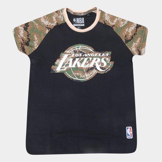 Camiseta Juvenil Los Angeles Lakers NBA Camo Masculina - Preto