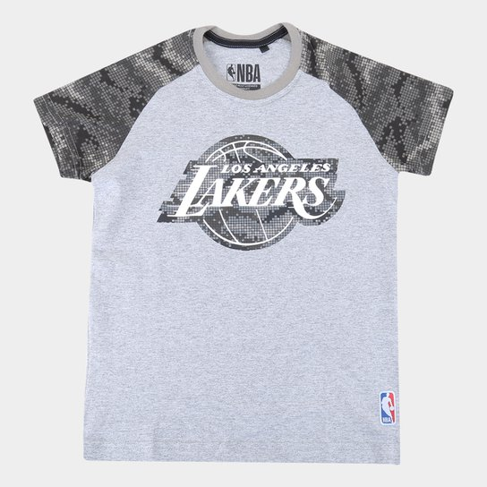 Camiseta Juvenil Los Angeles Lakers NBA Camo Masculina - Mescla