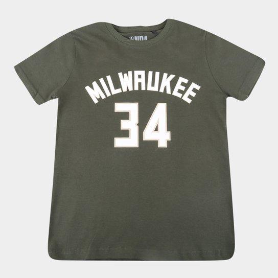 Camiseta Juvenil Milwaukee Bucks Giannis Antetokounmpo NBA Masculina - Verde escuro