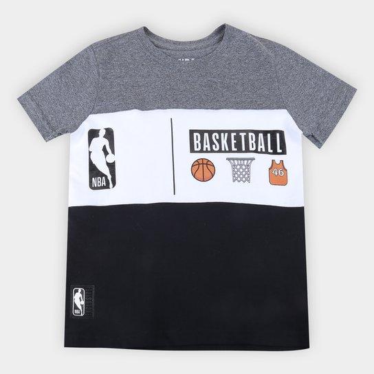 Camiseta Juvenil NBA Basketball Masculina - Grafite+Cinza