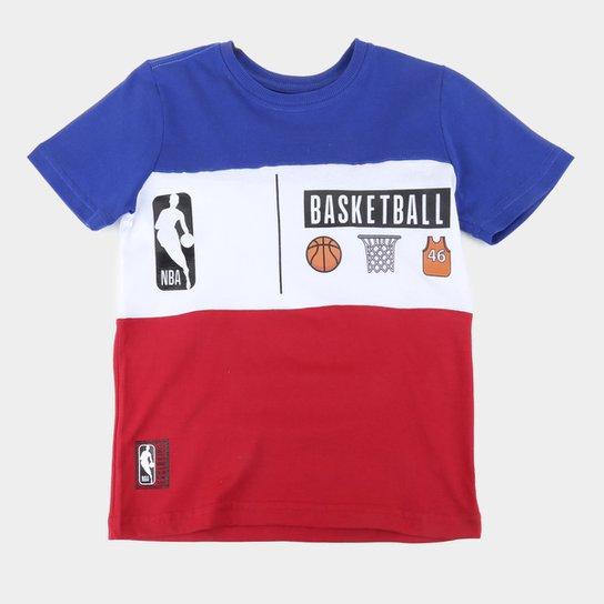 Camiseta Juvenil NBA Basketball Masculina - Azul+Vermelho