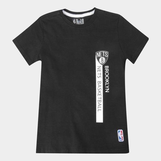 Camiseta Juvenil NBA Brooklyn Nets Flush Bronet Masculina - Preto