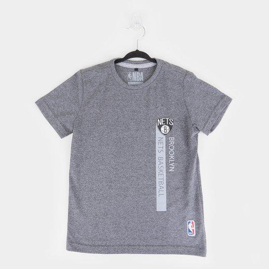 Camiseta Juvenil NBA Brooklyn Nets Flush Bronet Masculina - Grafite