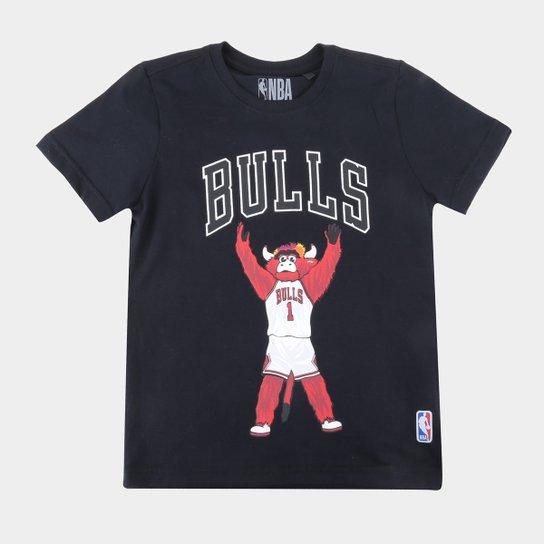 Camiseta Juvenil NBA Chicago Bulls Mascote Masculina - Preto