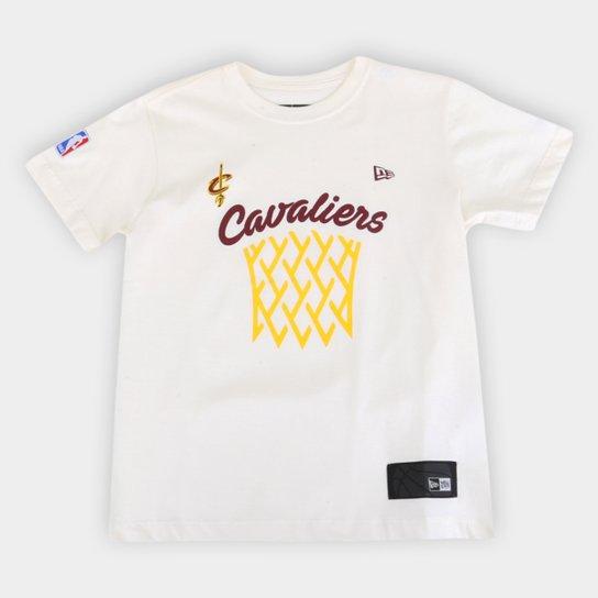 Camiseta Juvenil NBA Cleveland Cavaliers New Era Masculina - Off White