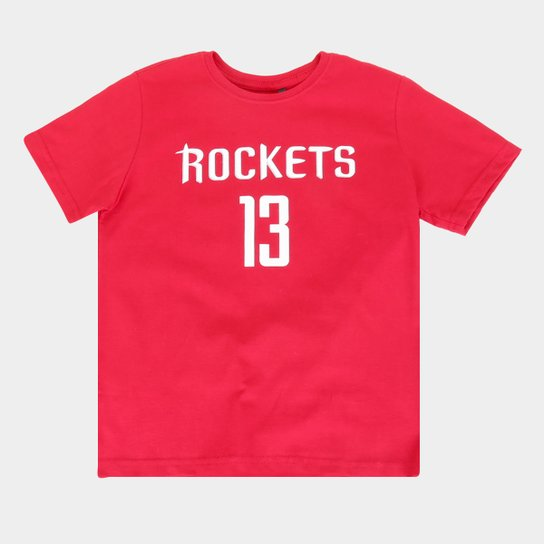 Camiseta Juvenil NBA Estampada Masculina - Vermelho
