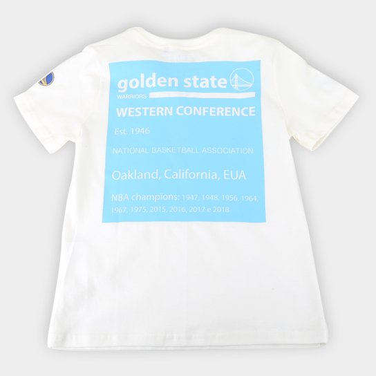 Camiseta Juvenil NBA Golden State Warriors Mini Logo Masculina - Marrom+Branco