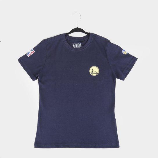 Camiseta Juvenil NBA Golden State Warriors Mini Logo Masculina - Azul Navy