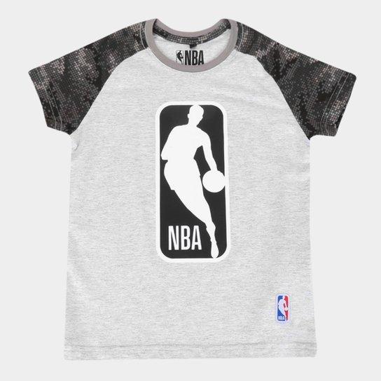 Camiseta Juvenil NBA Logo Masculina - Off White
