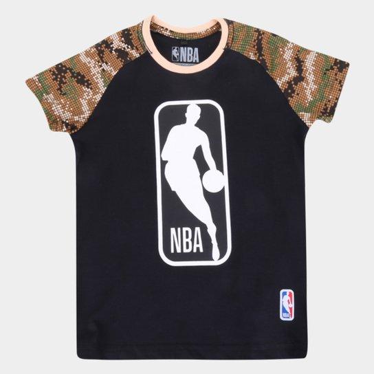 Camiseta Juvenil NBA Logo Masculina - Preto