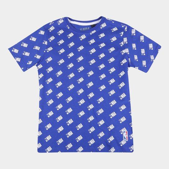 Camiseta Juvenil NBA Logo Masculina - Azul Claro