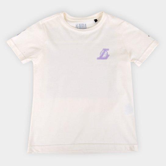 Camiseta Juvenil NBA Los Angeles Lakers Conference Masculina - Marrom+Branco