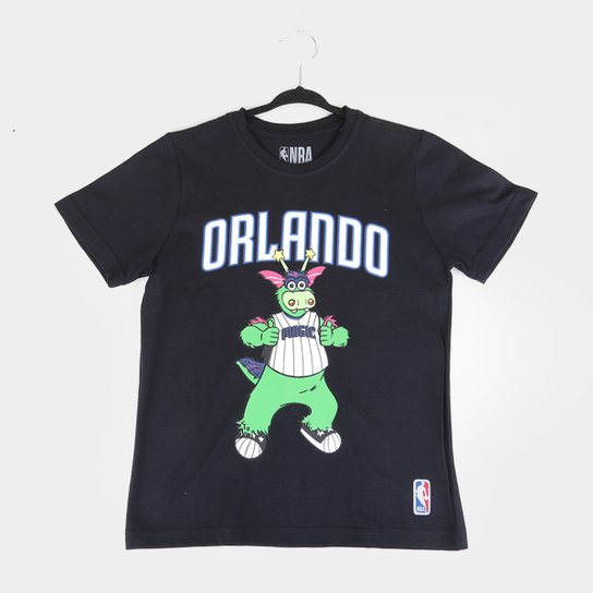 Camiseta Juvenil NBA Orlando Magic Mascote Masculina - Preto