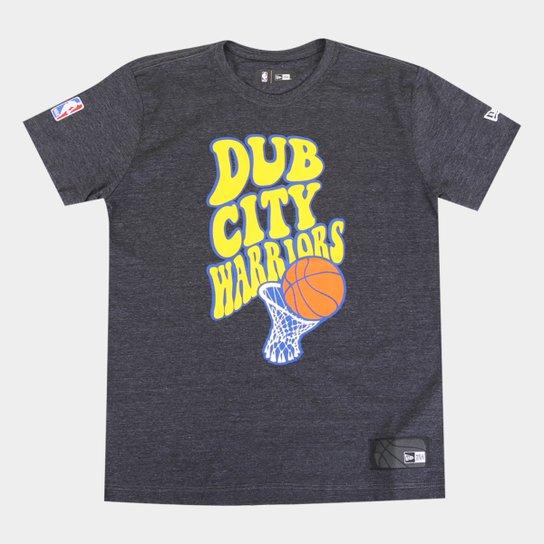 Camiseta Juvenil New Era NBA Golden State Warriors Dub City Masculina - Mescla Escuro