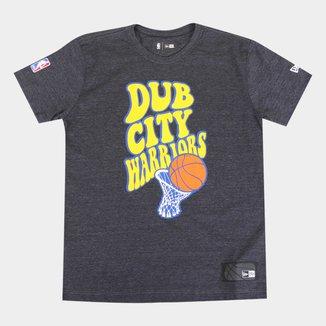 Camiseta Juvenil New Era NBA Golden State Warriors Dub City Masculina