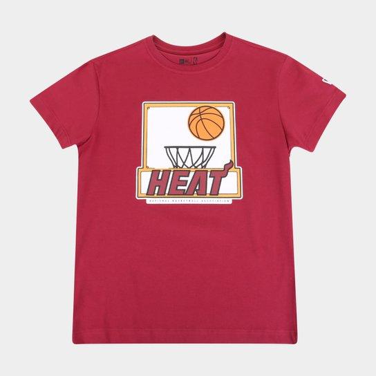 Camiseta Juvenil New Era NBA Miami Heat Shoot Masculina - Vermelho Escuro