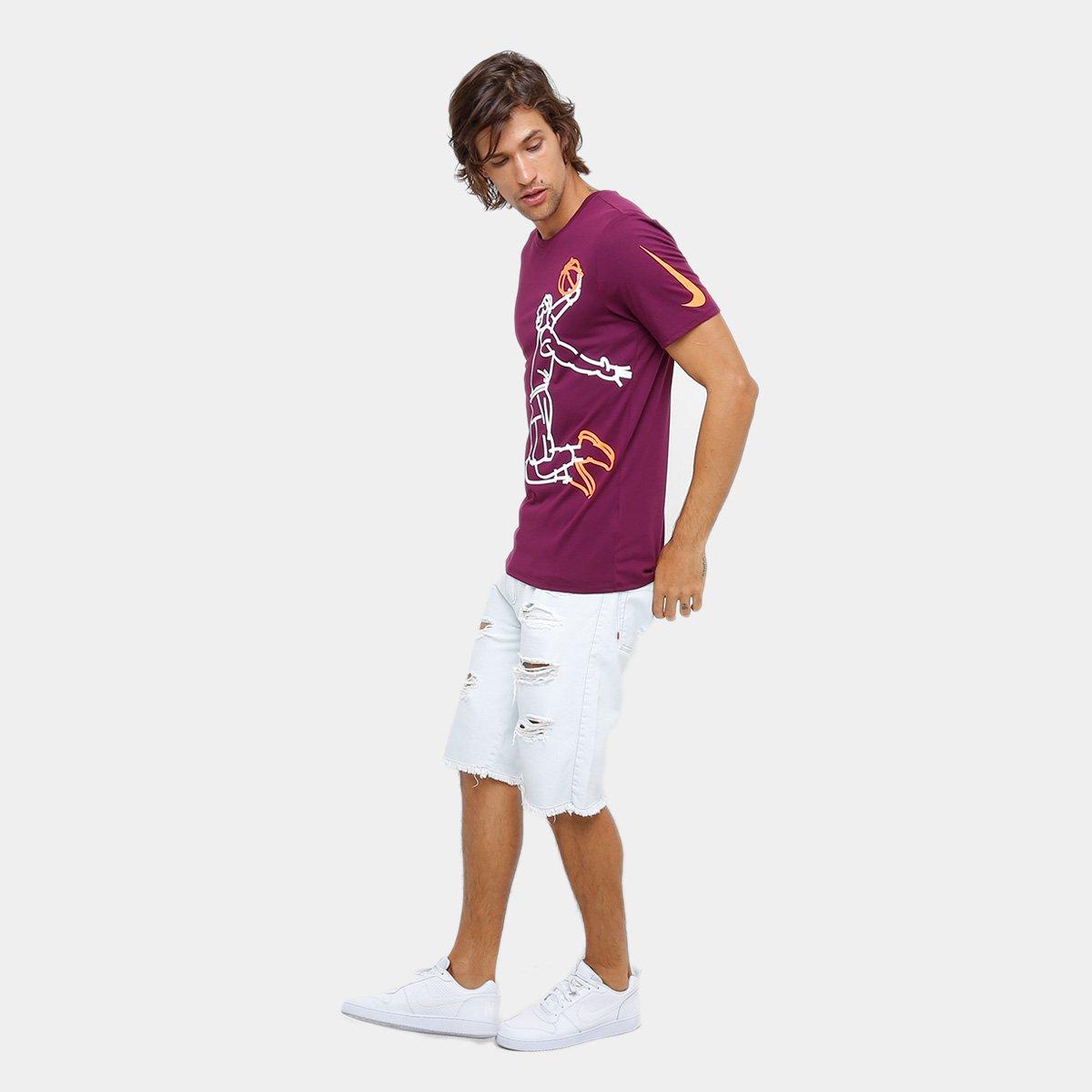 ff6778b417 Camiseta Lebron James Nike NBA Famous Masculina - Bordô - Compre ...