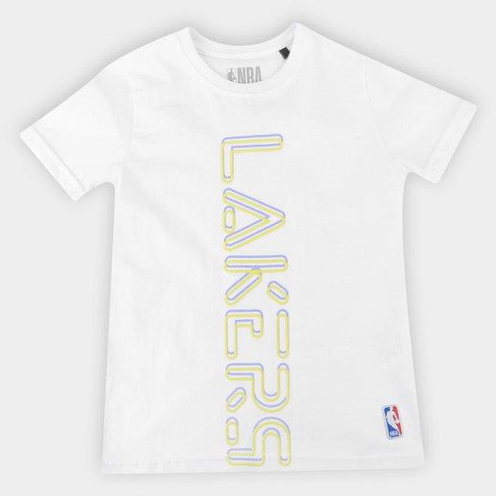 Camiseta Los Angeles Lakers Juvenil NBA Masculina - Branco